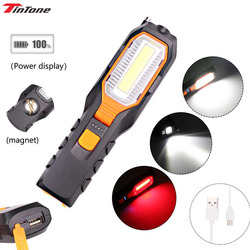 8000LM COB LED Worklight USB Rechargeable Power Output Torch Flexible Magnetic Inspection Lamp Flashlight Emergency