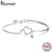 BAMOER romantik yeni 100% 925 ayar gümüş kalp pembe CZ zincir bağlantı bilezik bileklik kadınlar için gümüş takı SCB117