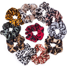 Women Chiffon Fabric Large Intestine Boho Vintage Colored Leopard Snake Digital Printing Ponytail Holder Elastic Scrunchies(China)