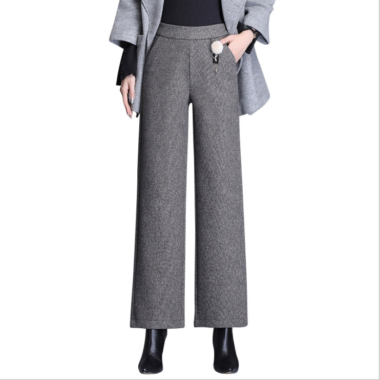 High Waist Woolen Trousers Wide Leg Pants Women 2019 Korean Pants Women Autumn And Winter New Loose Casual Trousers 1212