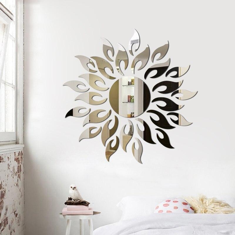 3D Sun Mirror Wall Sticker