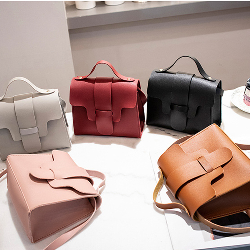 Women Vintage Handbags Small Square Solid Color Simple Female Crossbody Bag FO Sale
