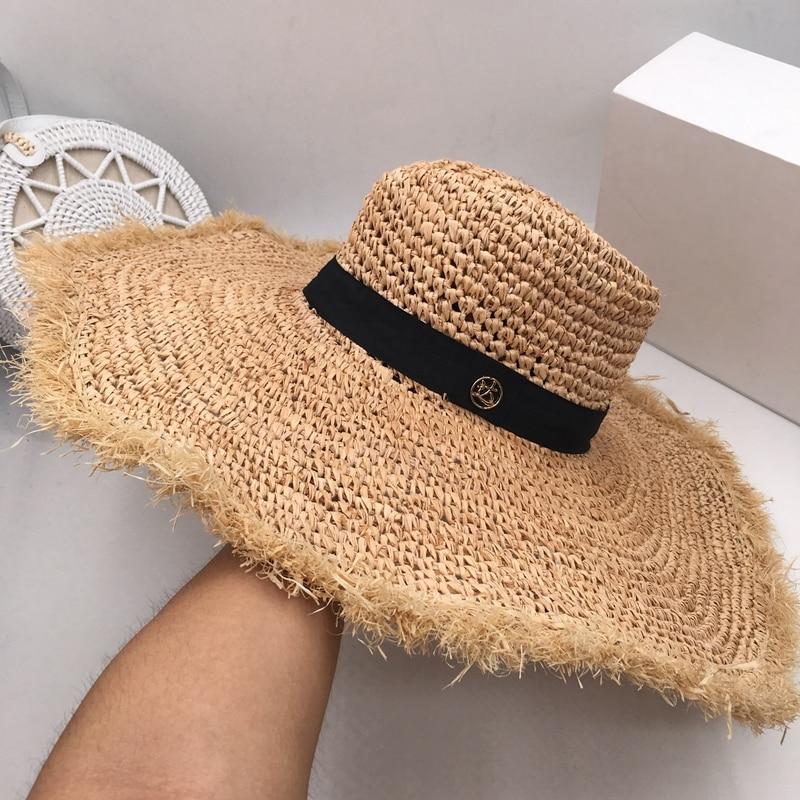 Han edition lafite grass beach hat female summer beach sun hat M wide brim holiday travel