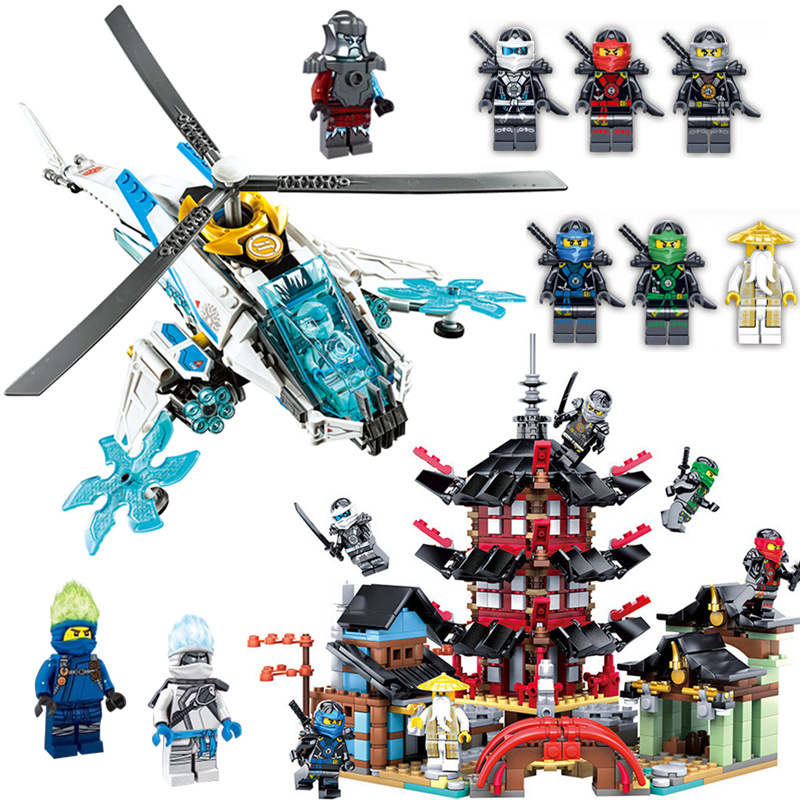 3D Ninja Temple Boat Fly Dragon Movie Model DIY Building Block Figure Educational Toys For Children Collection Ninjagoes Bricks image