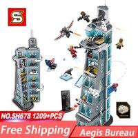 SH678 Avenger Super Hero Attack on Avengers Tower Aegis Bureau Building Block Toys Compatible With 76038 Children Gift