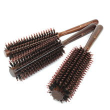 1 Set S/M/L Natural Boar Bristle Round Brushes Wooden Handle Hair Rolling Brush For Hair Drying Styling Curling