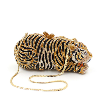 Luxury Bags leopard Tiger Crystal Evening Bags Women Wedding Clutch Bags Female Purses and handbags Party diamond painting chain