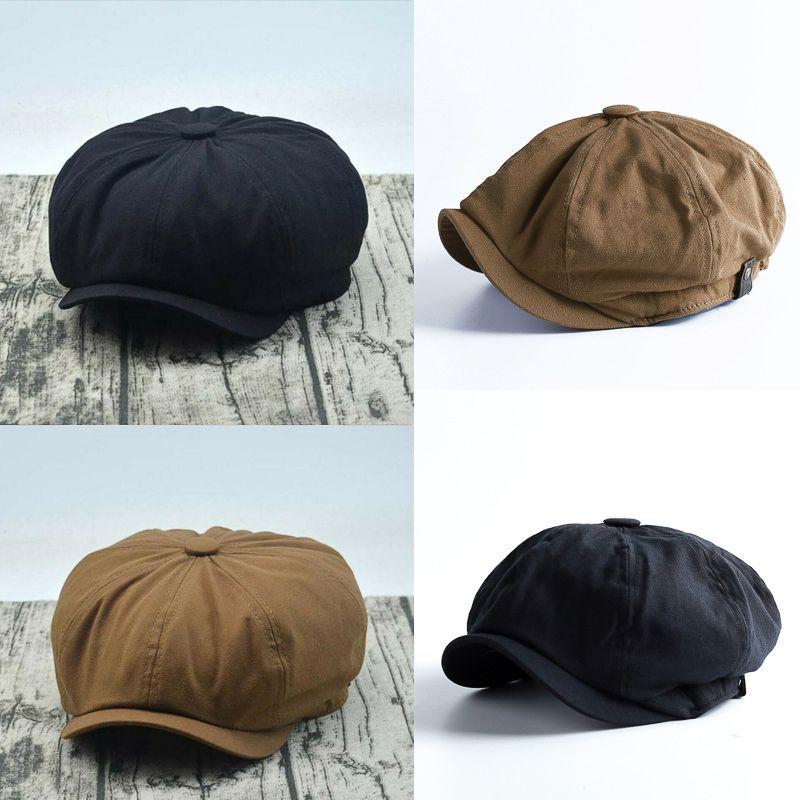 Warm Winter Women Men Casual Breathable Beret Flat Cap Berets British Western Style Vintage Striped Beret Cap