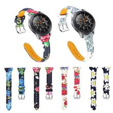 Floral Print Flower Strap Genuine Leather Watchband Wrist Watch Band for Samsung Galaxy Ремешок для часов