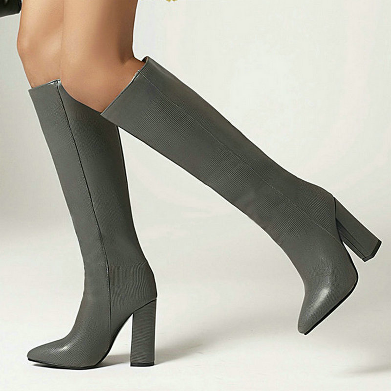 Brand Design Women Knee High Boots Fashion Pointed Toe Thick Heel Women Western Boots 2020 New Winter Boots Plus Size 43