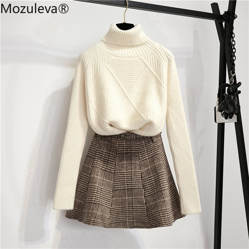 Mozuleva Women Thick Warm Knitted Crop Top Sweaters+Belt Plaid Wool Mini Skirt 2019 Winter Casual Preppy Style Two Pieces Set