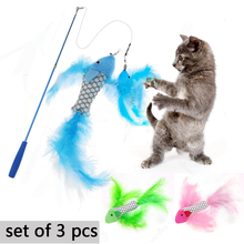 3pcs Multicolor Cats Pet Toys Feather Interactive Toy Cat Scratcher Velvet Funny Paws Juguetes para Gatos D40