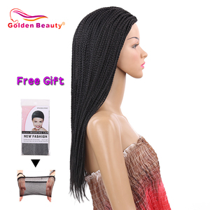 Image 5 - Golden Beauty 22inch Box Braid Wig Long Black Synthetic Hair Wig Braided Wigs With Breathable Cap