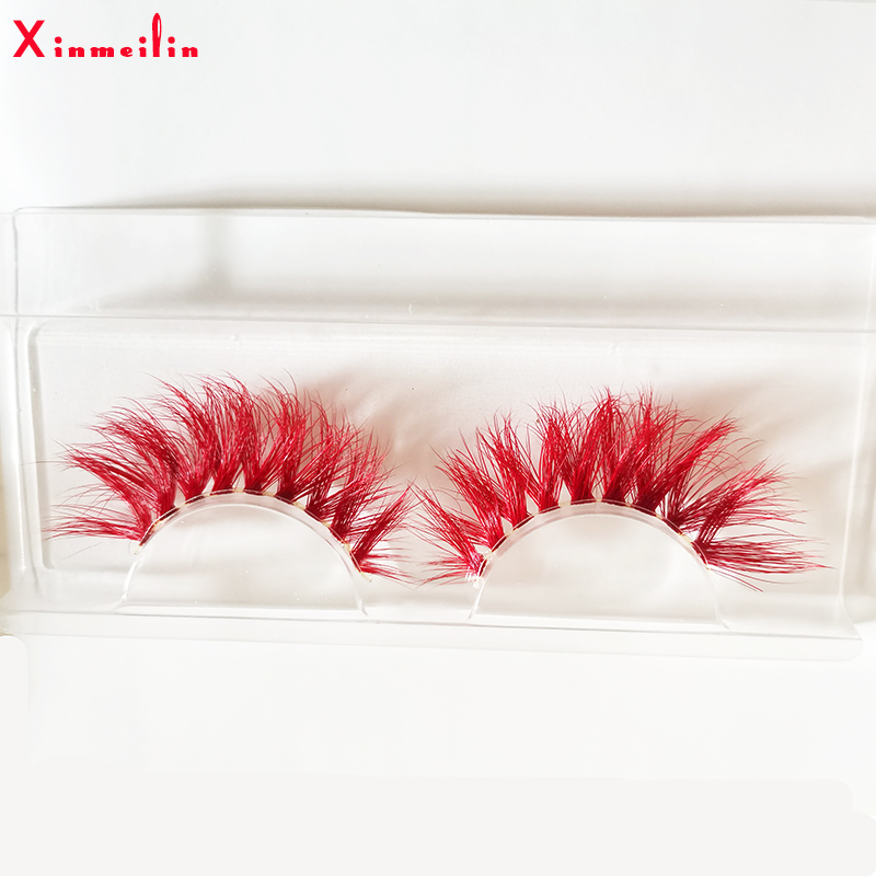 New Red 3D Mink Lashes Wholesale Makeup Natural Long Individual Thick Fluffy  Colorful False Eyelashes Lash Extension Supplies