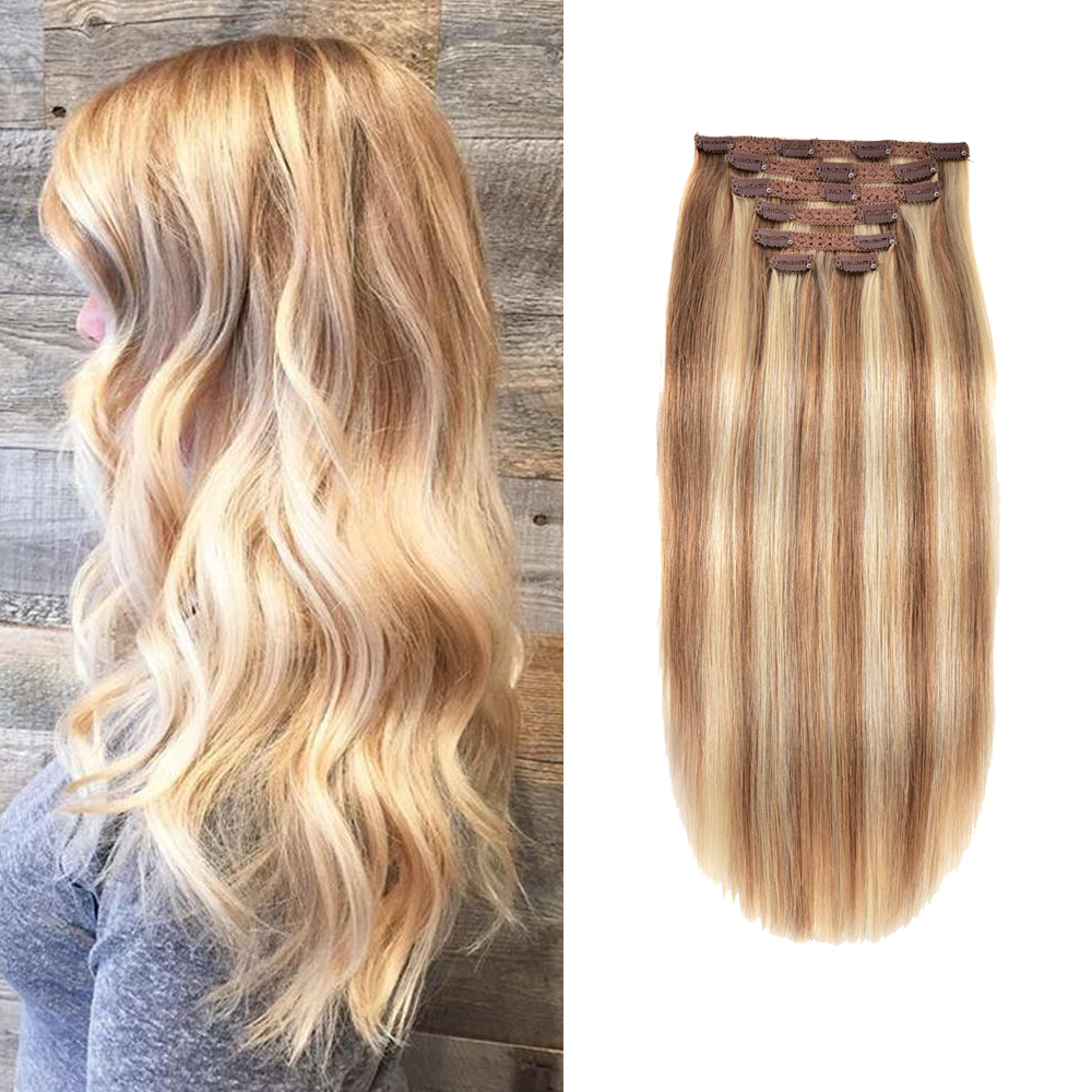 Gazfairy Straight Style Real Remy Hair Double Weft Full Head Clip In Human Hair Extensions 14''-20'' 120g 7Pcs/Set  For Women