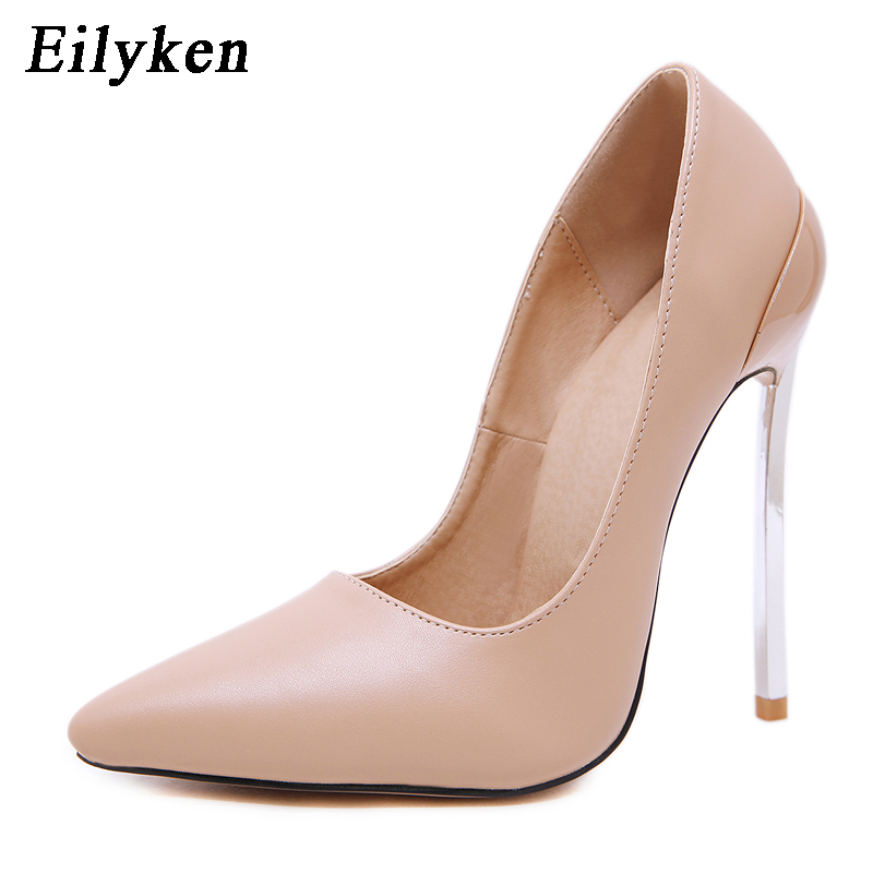 Eilyken 2020 New Spring Autumn Stiletto Heel High Pumps Women Pointed Toe Party Shoes Ladies Shallow Wedding Shoes Black Apricot