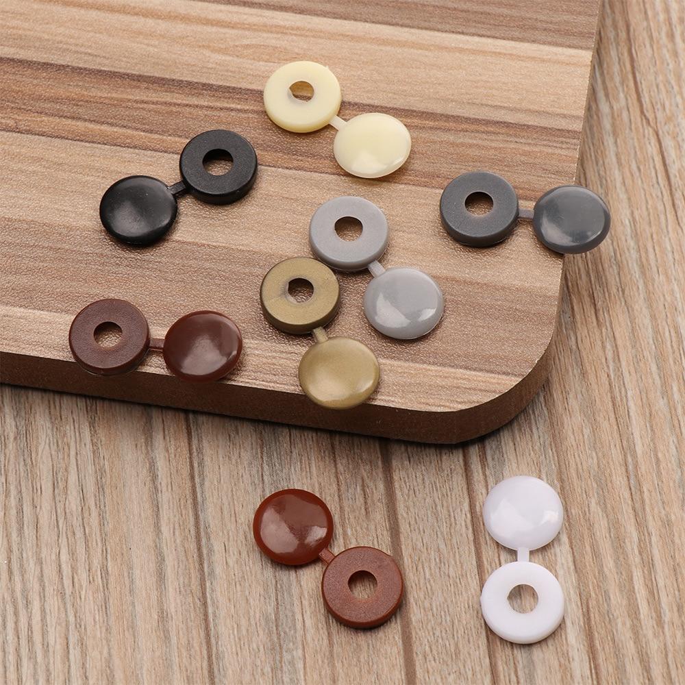 100 unids/pack tapa de rosca de plástico con bisagras de colores tapa plegable tuerca de botón pernos proteger muebles autorroscantes decoración Exterior|Tornillos|   - AliExpress