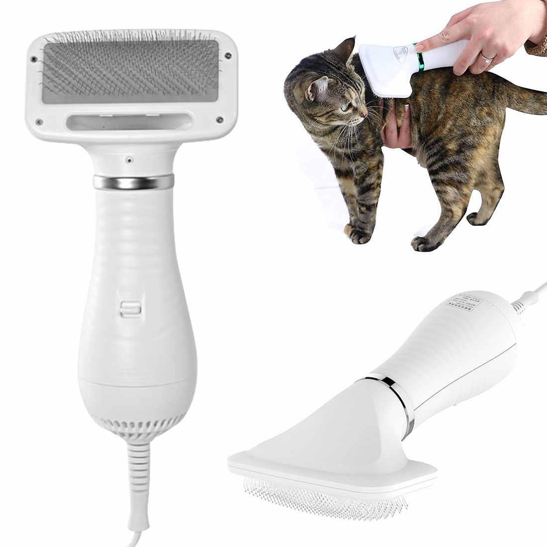 2 في 1 الكلب مجفف الشعر الفراء منفاخ درجة حرارة منخفضة والضوضاء الحيوانات الأليفة الشعر مشط التبرج للكلاب القطط إزالة فرشاة تسريح الحيوانات أدوات