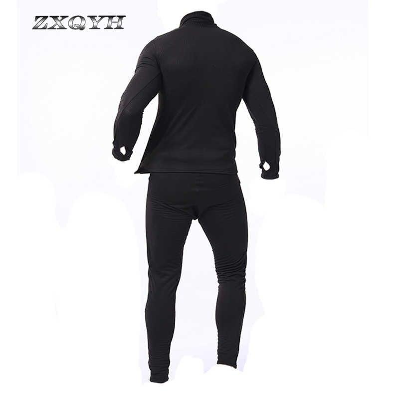ZXQYH 冬用下着男性はミリタリー戦術制服屋外スポーツ服ハイキング Tシャツ + パンツ制服セット