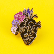 Flower Black Heart Brooches Badges for Backpack Enamel Pins Clothes Lapel Pin Badge Accessories Jewelry Gifts