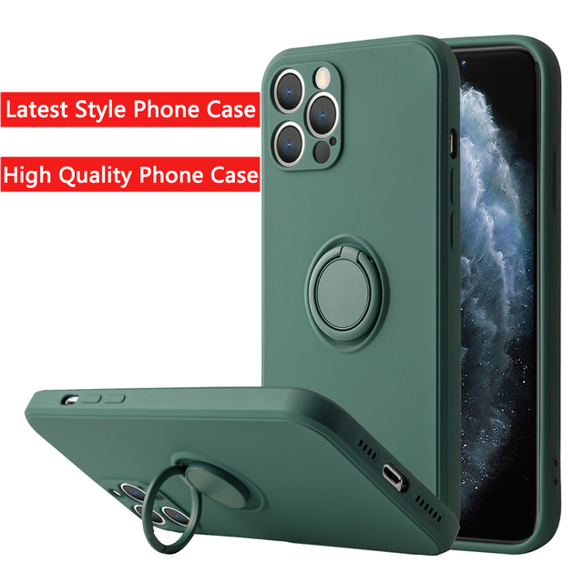 Liquid Silicone Finger Ring Stand Magnetic Holder Bracket For iPhone 12 11 Pro Max Mini XR X XS Max 7 8 Plus SE 2020 Phone Case 1