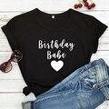 Футболка с принтом в виде сердца для дня рождения Милая женская футболка в подарок на день рождения забавные летние женские вечерние футбол...