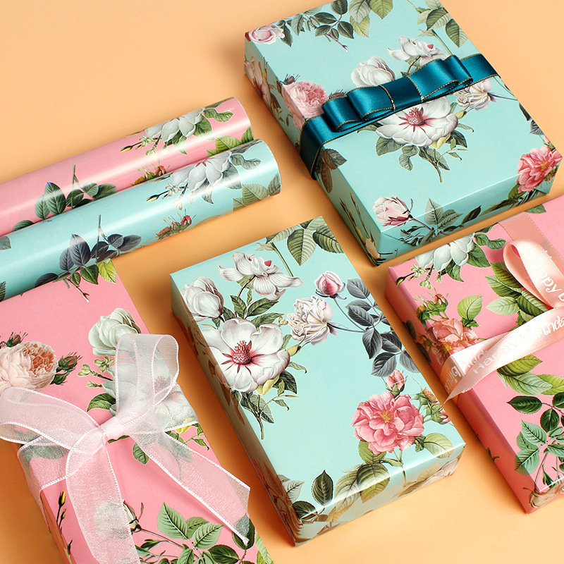 50x70cm Gift Cartoon Floral Wrapping Paper Roll For Wedding Kids Birthday Holiday Baby Shower Gift Wrap Craft Paper Decor Gift