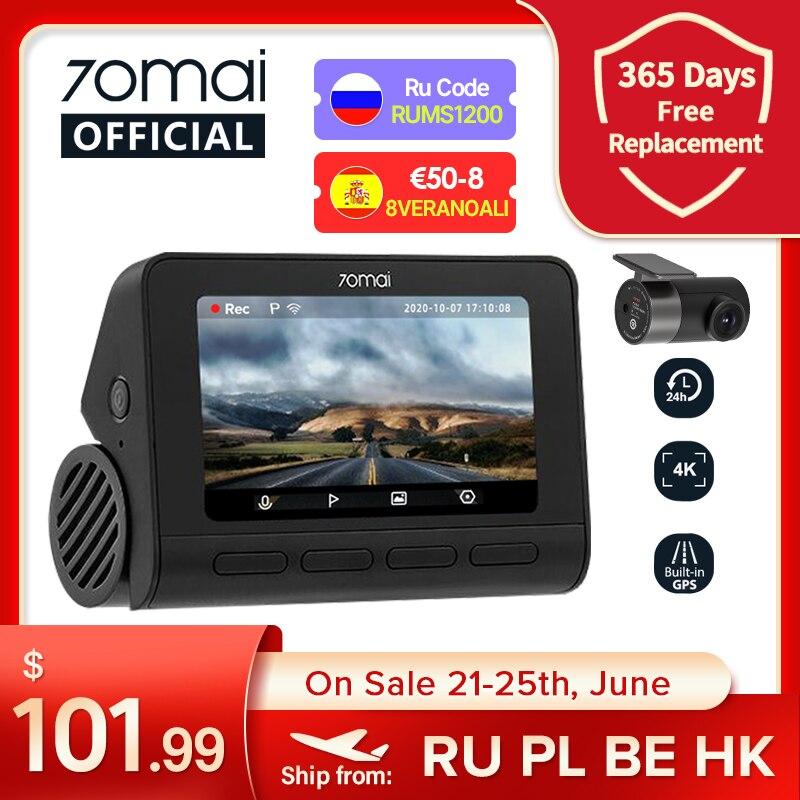 VSEVAM455 70mai Dash Cam 4K A800S двойной прицел 70mai A800S GPS ADAS спереди и сзади Видеорегистраторы для автомобилей 2160P 4K 24 часа в сутки парковка 140FOV