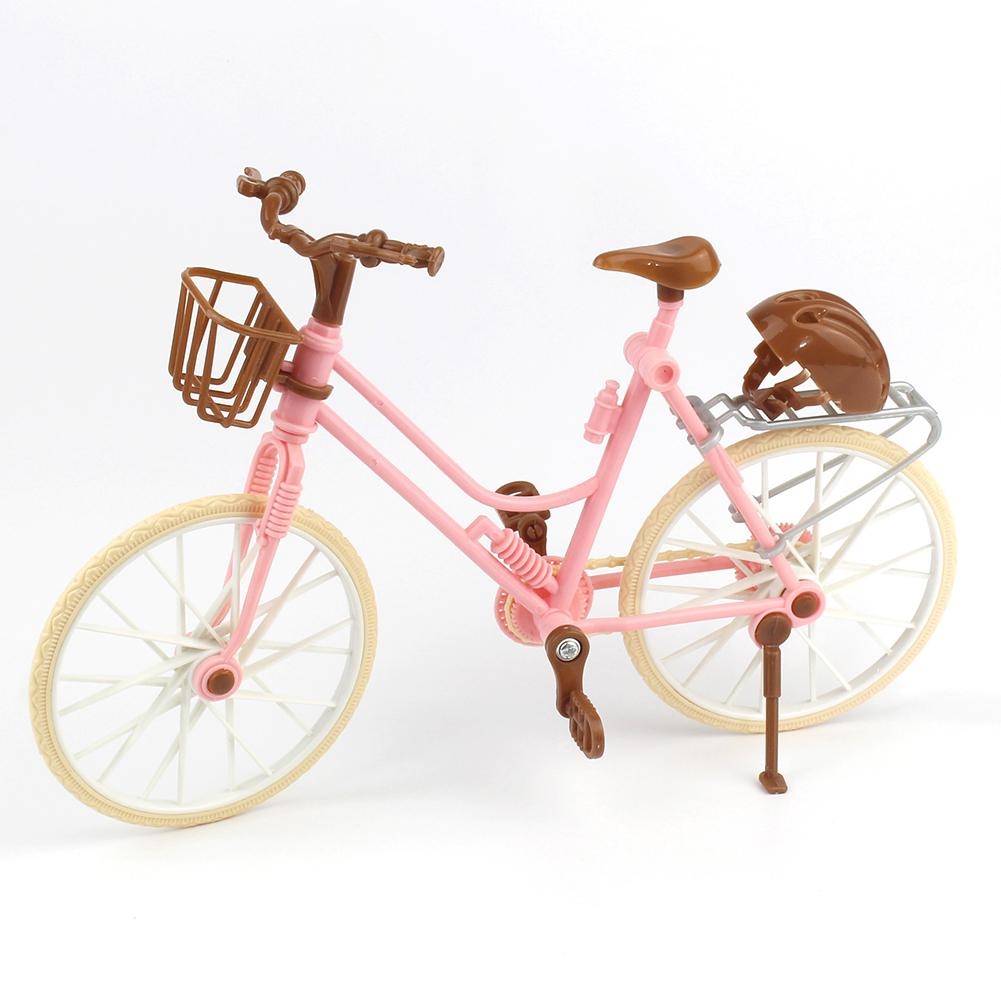 Pink Bicycle Play House Toy Detachable Bike + Basket + Brown Helmet Kids Toys Dolls Accessories Doll Toys Accessories