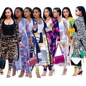 Image 1 - Autumn Pants + Coat 2 Piece Set Woman Clothes 4XL Plus Size Ropa Mujer Vetement Femme Suit Long Jacket Women Tracksuit Harajuku