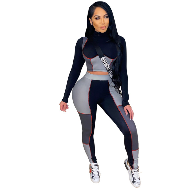 Casual Two Piece Set Women Color Patchwork Full Sleeve Shirt Crop Top  + Long Pant Tracksuit Sportsuit Clothes For Women Outfit