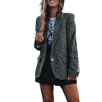 Classic Leopard Printing Outfit Casual Splicing Button Pocket Cardigan Coat Women Comfortable Lapel Splicing Long Sleeve Blazer фото