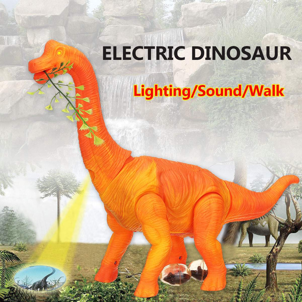 Electric Dinosaur With Light Sound Toy For Kids Walking Brachiosaurus Dinosaur Lay Eggs Function Glowing Interactive Model Toy