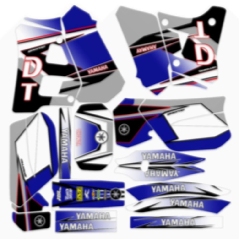 For YAMAHA DT125R 200R Full Graphics Decals Stickers Custom Number Name Blue Matte Stickers Waterproof