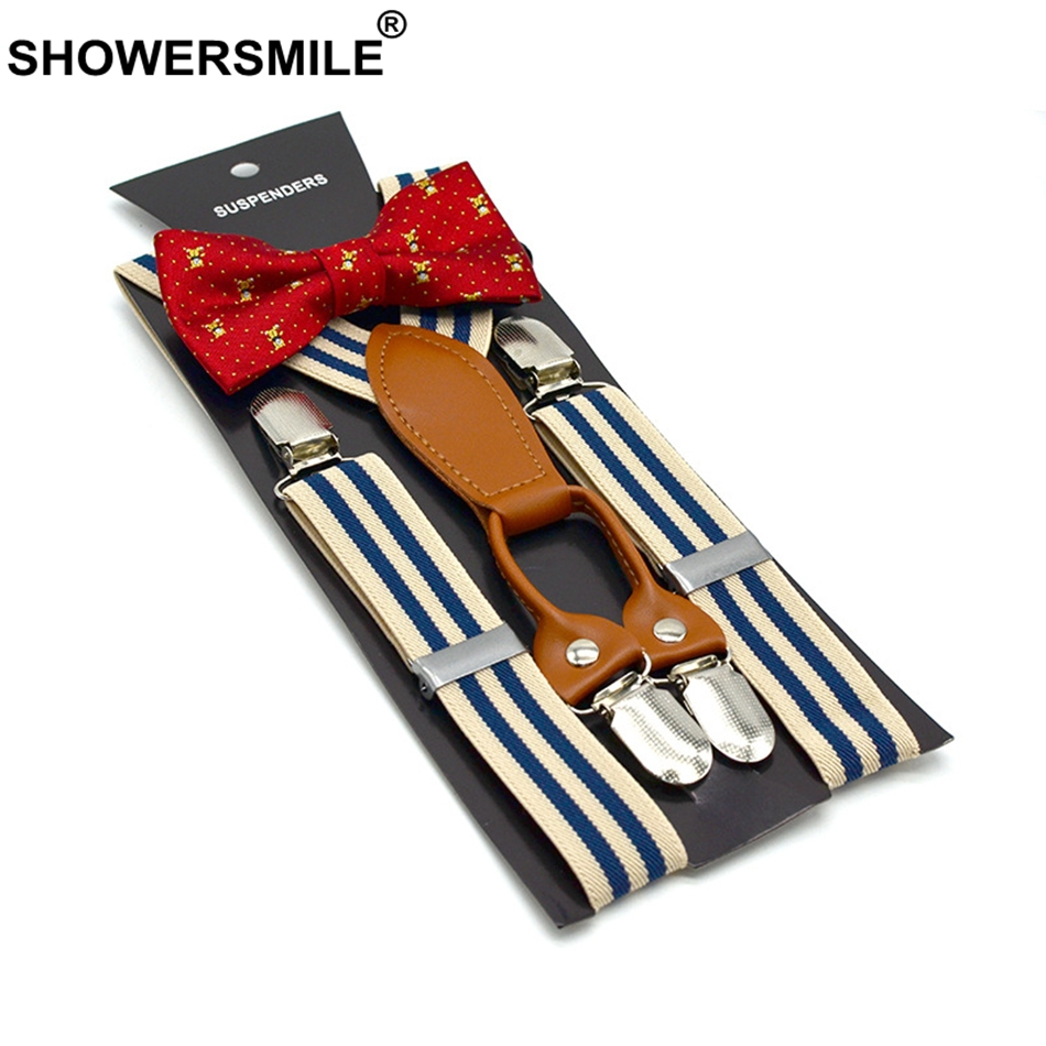 SHOWERSMILE Striped Suspenders Bow Tie For Children Boys Party Pants Strap Fashion 4 Clips Suspender Belt Casual Kids Braces