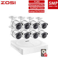 ZOSI 5MP CCTV vigilancia sistema de cámara de seguridad 8 canales Video Nightvision DVR Kit vista remota en el teléfono con HDD