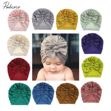 Аксессуары для малышей, детская чалма, бант, повязка-Узелок на голову, хлопковая Шапка-бини, зимняя теплая шапка, однотонный детский душ, реквизит