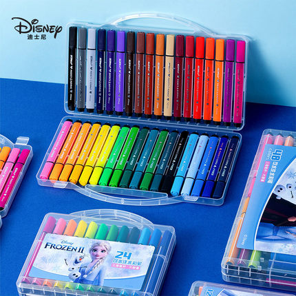 12/24/36 Color Disney Frozen Watercolor Pen Set Child Early Education Creation Graffiti Pen Cartoon Painting Pen Learning Gift