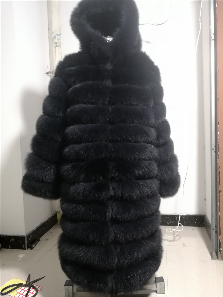 100% Natural Real Fox Fur Coat Women Winter Genuine Vest Waistcoat Thick Warm Long Jacket With Sleeve Outwear Overcoat plus size 125