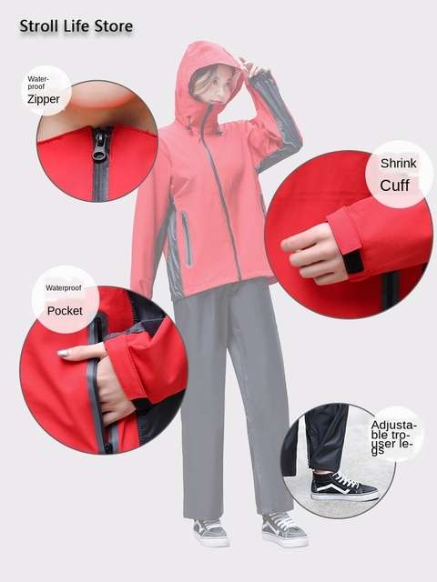 Men Rain Jacket Pants Set Raincoat Waterproof Suit Men's Electric Motorcycle Rain Coat Adult Outdoor Women's Jacket Hiking Gift 3