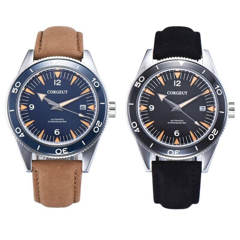 Corgeut 41mm  Hands Dial Luminous Date Seagull /miyota8215 Mens Automatic Mechanical Wristwatches Men Sapphire Glass Waterproof