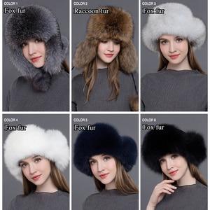 Image 5 - Gours 여성용 모피 모자 천연 너구리 여우 모피 러시아어 Ushanka 모자 겨울 두꺼운 따뜻한 귀 패션 폭탄 모자 검정 새 도착