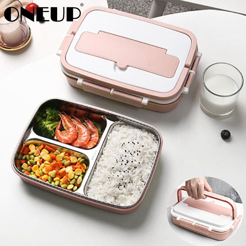 ONEUP Portable Lunch Box 304 Stainless Steel Bento Box With Tableware Student Sealed Leak-proof Large-capacity Food Container