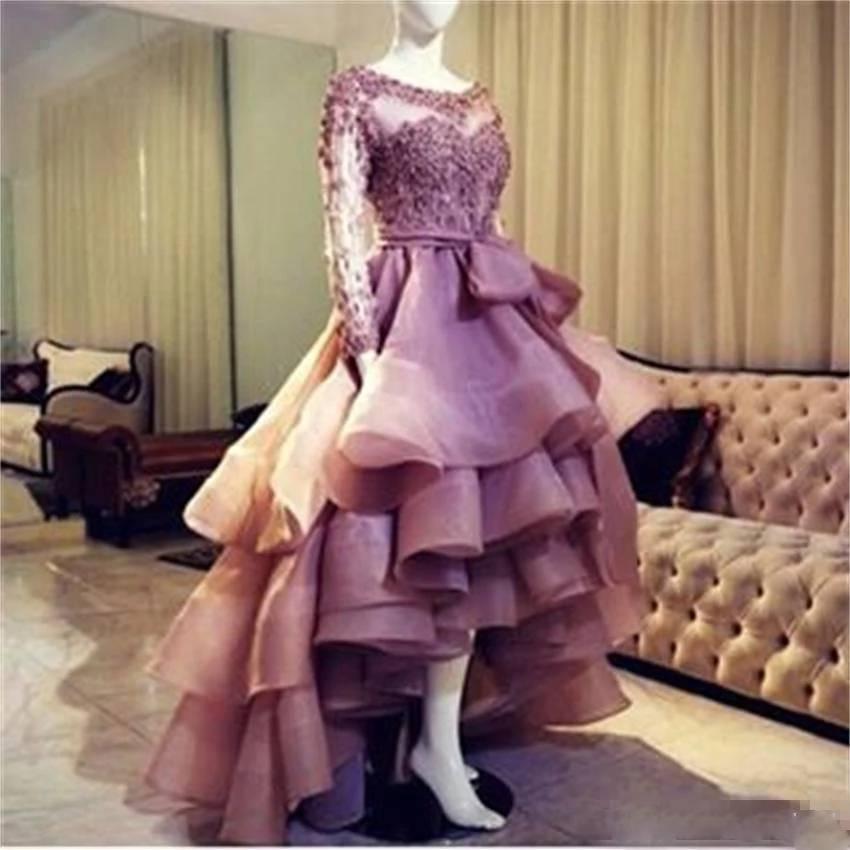 Elegant Fushia Short Long Prom Dresses 2019 Sexy Long Sleeves Ruffle Tulle Formal Evening Party Dress