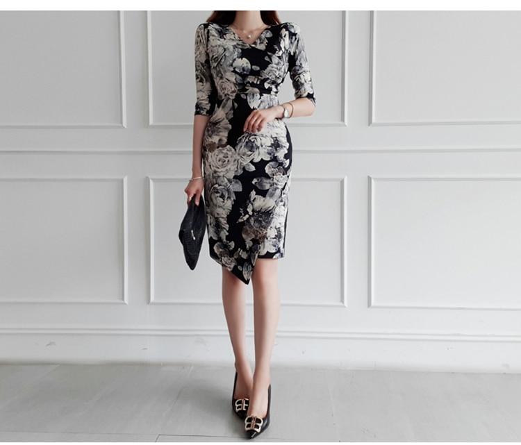 Floral Print Half Sleeve Sheath Knee-length Dress 3