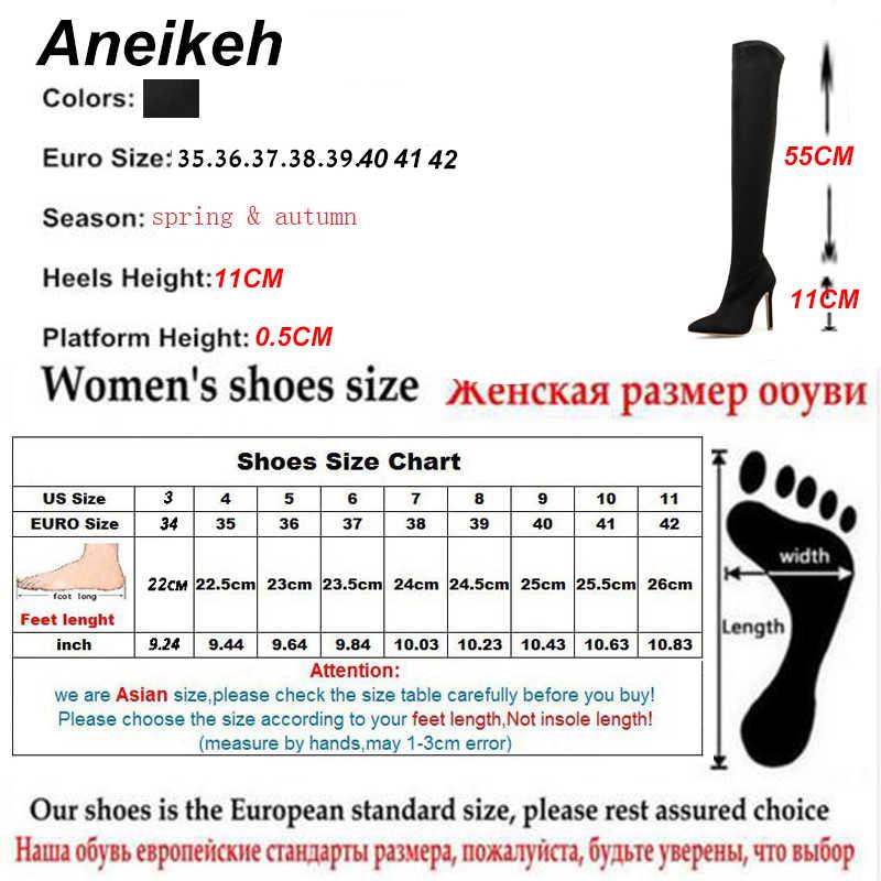 Aneikeh moda streç kumaş over-the-diz çizmeler kadın Stiletto yüksek topuklu Botas mujer invierno 2020 seksi sivri ayak pompaları