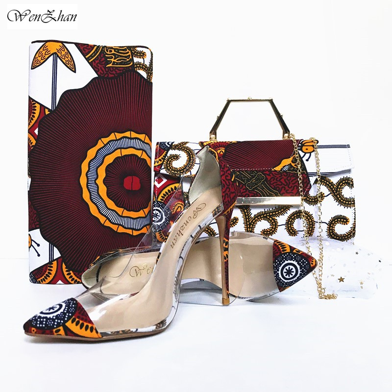 WENZHAN Elegant Ladies Pumps Shoes With Matching Handbags Spring Summer Pointed Toe High Heels Made By African Cotton Wax 912-4