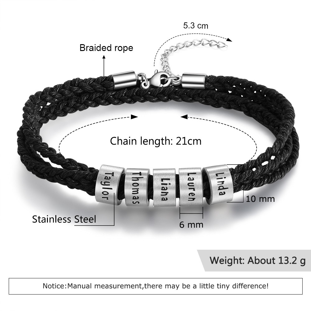 JewelOra Personalized Stainless Steel Custom Name Beads Bracelet Adjustable Multilayer Braided Rope Men Bracelets Dad Gift