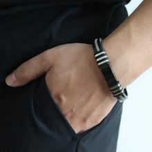 Black Stainless Steel Bracelets Bangles Rubber Cuff Bracelet with Chain Men Wristband Bangle Fashion Jewelry