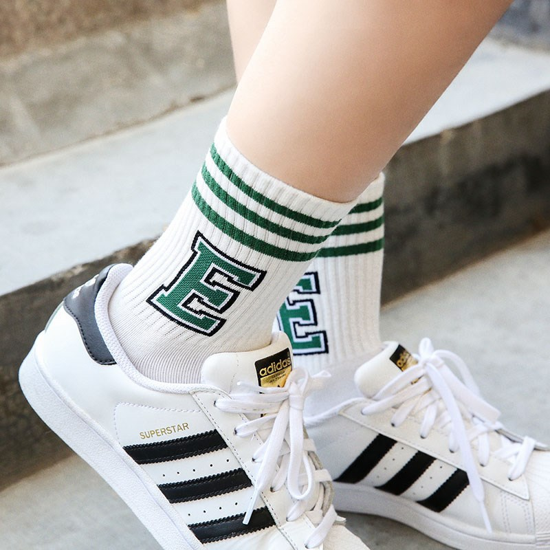 New College Style Three Bar Letters Cotton Mid Tube Women's Socks Tide Sports Socks High Quality Socks
